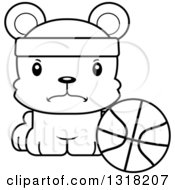 Animal Lineart Clipart Of A Cartoon Black And White Cute Mad Bear Cub Wearing A Headband And Sitting By A Basketball Royalty Free Outline Vector Illustration