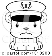 Animal Lineart Clipart Of A Cartoon Black And White Cute Mad Bear Cub Captain Royalty Free Outline Vector Illustration