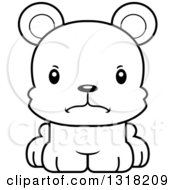 Animal Lineart Clipart Of A Cartoon Black And White Cute Mad Bear Cub Royalty Free Outline Vector Illustration