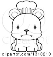 Animal Lineart Clipart Of A Cartoon Black And White Cute Mad Bear Cub Chef Royalty Free Outline Vector Illustration