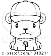 Animal Lineart Clipart Of A Cartoon Black And White Cute Mad Bear Cub Coach Royalty Free Outline Vector Illustration