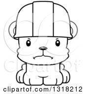 Cartoon Black And White Cute Mad Bear Cub Construction Worker