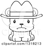Animal Lineart Clipart Of A Cartoon Black And White Cute Mad Bear Cub Wearing A Cowboy Hat Royalty Free Outline Vector Illustration