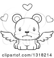 Animal Lineart Clipart Of A Cartoon Black And White Cute Mad Bear Cub Cupid Royalty Free Outline Vector Illustration