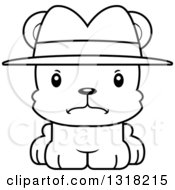 Animal Lineart Clipart Of A Cartoon Black And White Cute Mad Bear Cub Detective Royalty Free Outline Vector Illustration
