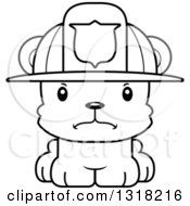 Animal Lineart Clipart Of A Cartoon Black And White Cute Mad Bear Cub Fire Fighter Royalty Free Outline Vector Illustration