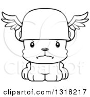Animal Lineart Clipart Of A Cartoon Black And White Cute Mad Bear Cub Hermes Royalty Free Outline Vector Illustration