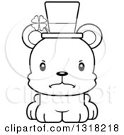 Animal Lineart Clipart Of A Cartoon Black And White Cute Mad Irish St Patricks Day Bear Cub Royalty Free Outline Vector Illustration