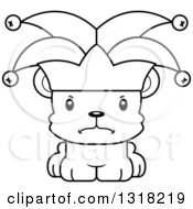 Animal Lineart Clipart Of A Cartoon Black And White Cute Mad Bear Cub Jester Royalty Free Outline Vector Illustration