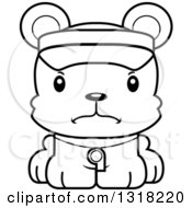 Animal Lineart Clipart Of A Cartoon Black And White Cute Mad Bear Cub Lifeguard Royalty Free Outline Vector Illustration