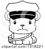 Animal Lineart Clipart Of A Cartoon Black And White Cute Mad Bear Cub Mail Man Royalty Free Outline Vector Illustration