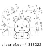 Animal Lineart Clipart Of A Cartoon Black And White Cute Mad Bear Cub With Party Confetti And A Hat Royalty Free Outline Vector Illustration