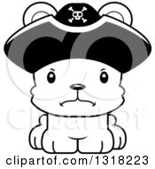 Animal Lineart Clipart Of A Cartoon Black And White Cute Mad Bear Cub Pirate Royalty Free Outline Vector Illustration