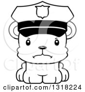 Animal Lineart Clipart Of A Cartoon Black And White Cute Mad Bear Cub Police Officer Royalty Free Outline Vector Illustration