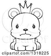 Animal Lineart Clipart Of A Cartoon Black And White Cute Mad Bear Cub Prince Royalty Free Outline Vector Illustration