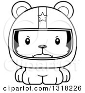 Animal Lineart Clipart Of A Cartoon Black And White Cute Mad Bear Cub Car Racer Royalty Free Outline Vector Illustration