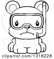 Animal Lineart Clipart Of A Cartoon Black And White Cute Mad Bear Cub Wearing Snorkel Gear Royalty Free Outline Vector Illustration