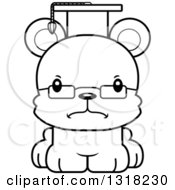 Animal Lineart Clipart Of A Cartoon Black And White Cute Mad Bear Cub Professor Royalty Free Outline Vector Illustration