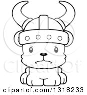 Animal Lineart Clipart Of A Cartoon Black And White Cute Mad Bear Cub Viking Royalty Free Outline Vector Illustration