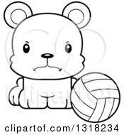 Animal Lineart Clipart Of A Cartoon Black And White Cute Mad Bear Cub Sitting With A Volleyball Royalty Free Outline Vector Illustration