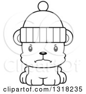 Animal Lineart Clipart Of A Cartoon Black And White Cute Mad Bear Cub Wearing A Winter Cap Royalty Free Outline Vector Illustration
