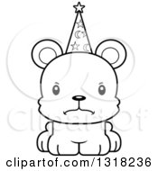 Animal Lineart Clipart Of A Cartoon Black And White Cute Mad Bear Cub Wizard Royalty Free Outline Vector Illustration