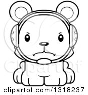 Animal Lineart Clipart Of A Cartoon Black And White Cute Mad Bear Cub Wrestler Royalty Free Outline Vector Illustration