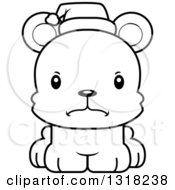 Animal Lineart Clipart Of A Cartoon Black And White Cute Mad Christmas Bear Cub Royalty Free Outline Vector Illustration