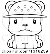 Animal Lineart Clipart Of A Cartoon Black And White Cute Mad Bear Cub Zookeeper Royalty Free Outline Vector Illustration