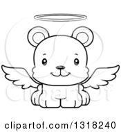 Animal Lineart Clipart Of A Cartoon Black And White Cute Happy Angel Bear Cub Royalty Free Outline Vector Illustration