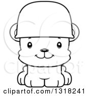 Animal Lineart Clipart Of A Cartoon Black And White Cute Happy Army Soldier Bear Cub Wearing A Helmet Royalty Free Outline Vector Illustration