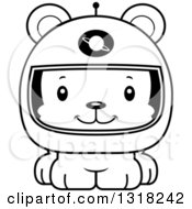 Animal Lineart Clipart Of A Cartoon Black And White Cute Happy Bear Cub Astronaut Royalty Free Outline Vector Illustration