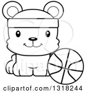 Animal Lineart Clipart Of A Cartoon Black And White Cute Happy Bear Cub Wearing A Headband And Sitting By A Basketball Royalty Free Outline Vector Illustration