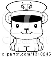 Animal Lineart Clipart Of A Cartoon Black And White Cute Happy Bear Cub Captain Royalty Free Outline Vector Illustration