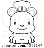 Animal Lineart Clipart Of A Cartoon Black And White Cute Happy Bear Cub Chef Royalty Free Outline Vector Illustration