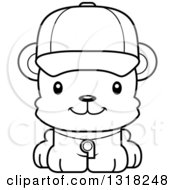 Animal Lineart Clipart Of A Cartoon Black And White Cute Happy Bear Cub Coach Royalty Free Outline Vector Illustration