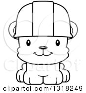 Cartoon Black And White Cute Happy Bear Cub Construction Worker