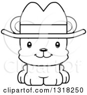 Animal Lineart Clipart Of A Cartoon Black And White Cute Happy Bear Cub Wearing A Cowboy Hat Royalty Free Outline Vector Illustration