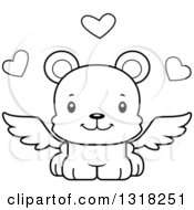 Animal Lineart Clipart Of A Cartoon Black And White Cute Happy Bear Cub Cupid Royalty Free Outline Vector Illustration