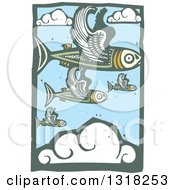 Clipart Of Woodcut Flying Fish In A Blue Sky With Clouds Royalty Free Vector Illustration by xunantunich