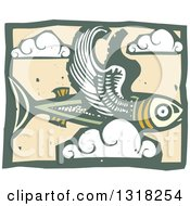 Clipart Of A Woodcut Flying Fish In The Sky With Clouds Royalty Free Vector Illustration by xunantunich