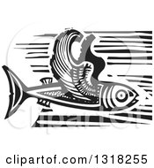 Clipart Of A Black And White Woodcut Flying Fish Royalty Free Vector Illustration by xunantunich