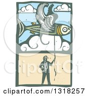 Clipart Of A Woodcut Businessman Holding A String To A Flying Fish In The Sky Royalty Free Vector Illustration by xunantunich