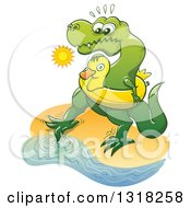 Clipart Of A Cartoon Tyrannosaurus Rex Dinosaur Wearing An Inner Tube On A Beach And Testing The Water With A Toe Royalty Free Vector Illustration