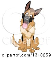 Cartoon Happy German Shepherd Dog Sitting And Cocking His Head