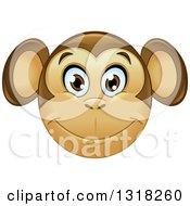 Clipart Of A Cartoon Happy Monkey Face Emoticon Royalty Free Vector Illustration