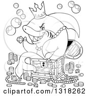 Lineart Clipart Of A Cartoon Black And White Shark Sitting In A Treasure Chest And Surrounded By Booty Royalty Free Outline Vector Illustration by visekart