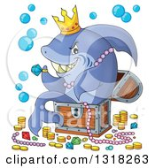 Cartoon Shark Sitting In A Treasure Chest And Surrounded By Booty
