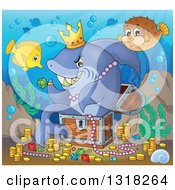 Cartoon Yellow Tang And Blowfish Over A Shark Sitting In A Treasure Chest And Surrounded By Coins And Jewels