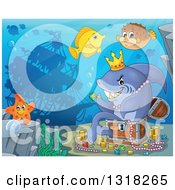Cartoon Yellow Tang Starfish And Blowfish By A Shark Sitting In A Treasure Chest And Surrounded By Coins And Jewels With A Silhouetted Sunken Ship